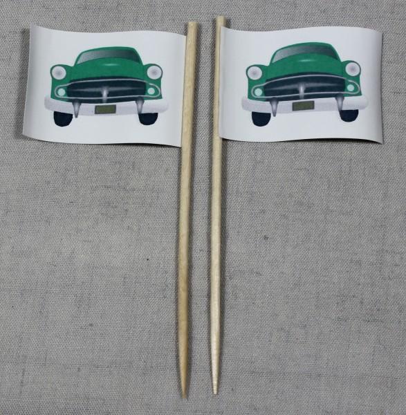 Party-Picker Flagge Auto Oldtimer Papierfähnchen in Spitzenqualität 50 Stück Beutel
