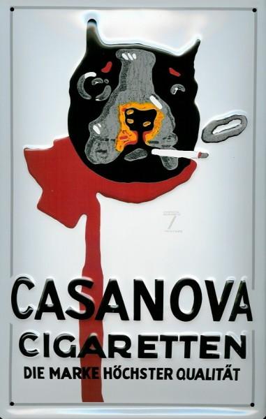 Blechschild Nostalgieschild Casanova Cigaretten Hund Zigaretten