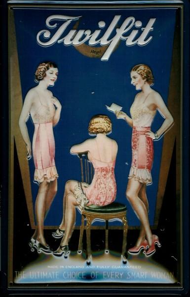 Blechschild Nostalgieschild Twilfit Damen Unterwäsche Underwear