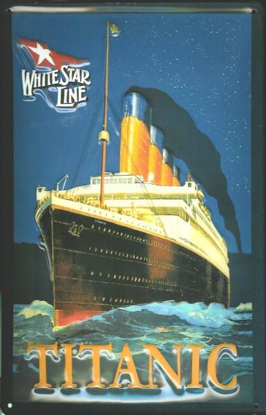 Blechschild Titanic White Star Line dunkelblau Dampfer Reedereiplakat Schiff Schild Nostalgieschild