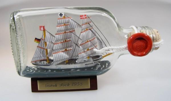 Gorch Fock Buddelschiff Flachmann 0,1 Liter ca. 13x7 cm Buddelschiff Flaschenschiff