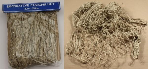 Fischernetz 120x250 cm Naturmaterial Hanf Fiscer Netz Band Tauwerk