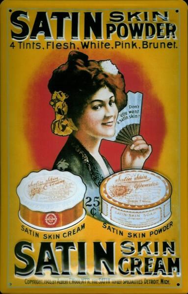 Blechschild Satin Skin Powder Hautpuder Schild retro Werbeschild Nostalgieschild