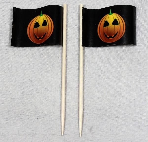 Party-Picker Flagge Halloween Kürbis Papierfähnchen in Spitzenqualität 50 Stück Beutel