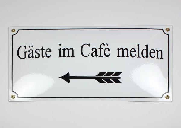 Gäste im Cafè melden Pfeil links weiss 40x20 cm sofort lieferbar Schild Emaille Hausnummer