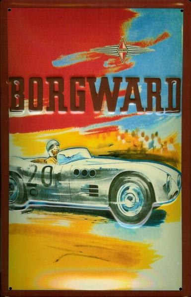 Blechschild Borgward Rennwagen Nostalgieschild Schild Rennauto Autorennen