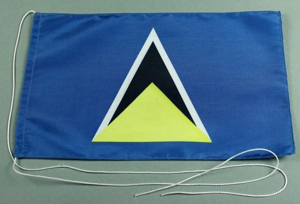 Tischflagge St. Lucia 25x15 cm optional mit Holz- oder Chromständer Tischfahne Tischfähnchen