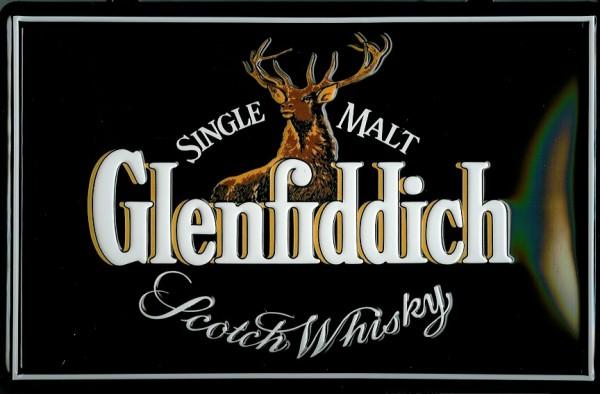 Blechschild Glenfiddich quer Hirsch Scotch Whisky retro Schild Nostalgieschild