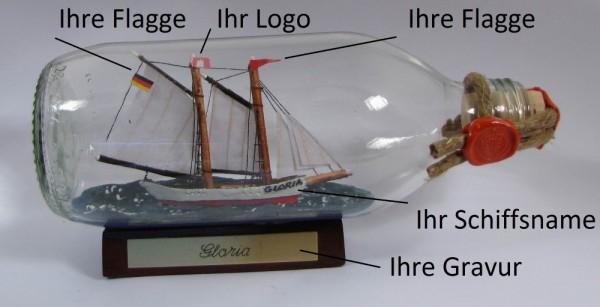 Buddelschiff runde Flasche 0,3 Liter Flaschenschiff individuell nach Ihren Wünschen