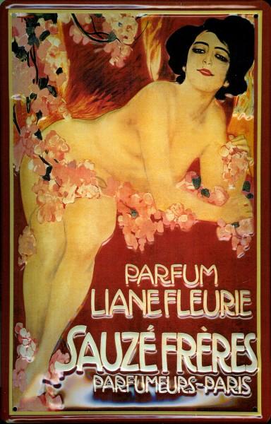Blechschild Sauzé Frères Parfum Liane Fleurie Parfumeurs Paris Schild retro Werbeschild Nostalgiesch