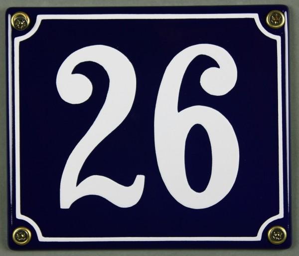Hausnummernschild Emaille 26 blau - weiß 12x14 cm sofort lieferbar Schild Emaile Hausnummer Haus Num