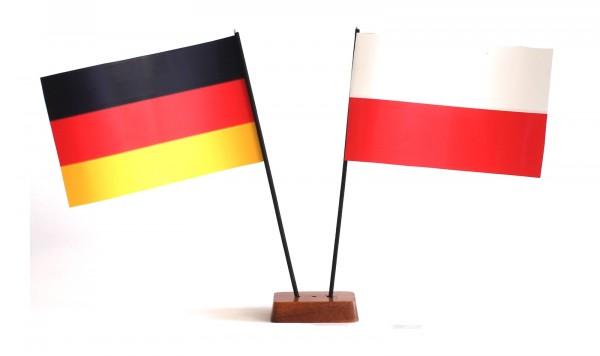 Mini Tischflagge Polen 9x14 cm Höhe 20 cm mit Gratis-Bonusflagge und Holzsockel Tischfähnchen