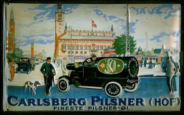 Blechschild Carlsberg Pilsner Hof Auto mit Flasche nostalgisches Bier Werbeschild Schild