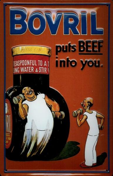 Blechschild Bovril Beef Hanteln Suppe Schild Reklameschild Werbeschild