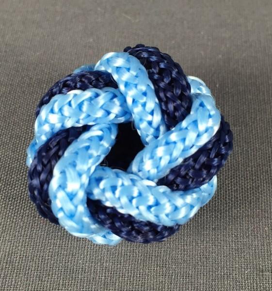 Makrameeknoten dunkelblau / hellblau für Halstuch
