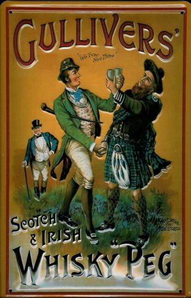 Blechschild Gullivers Whisky Peg Schottenrock Kilt retro Schild Werbeschild