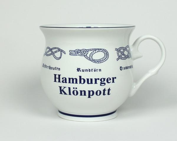 Hamburger Klönpott mit Seemannsknoten bauchig Kaffeebecher Kaffeetasse Kaffee Pott