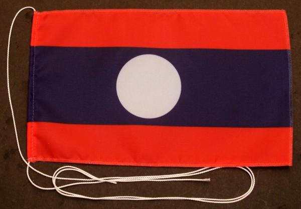 Tischflagge Laos 25x15 cm optional mit Holz- oder Chromständer Tischfahne Tischfähnchen