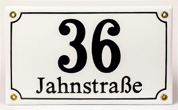 Kombi klein Emaille Hausnummernschild mit Wunschzahl / Text 25x15 cm Hausnummer