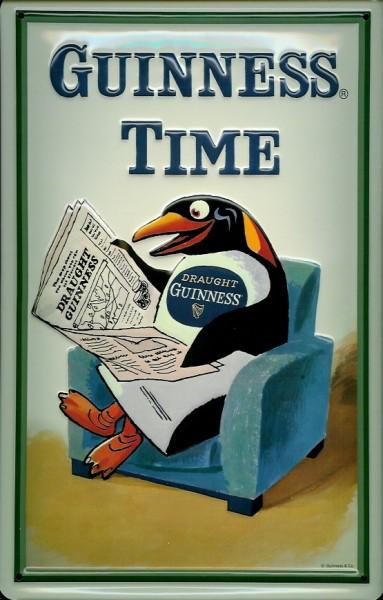 Blechschild Guinness Bier Time Pinguin Zeitung Sessel Nostalgie Schild Werbeschild
