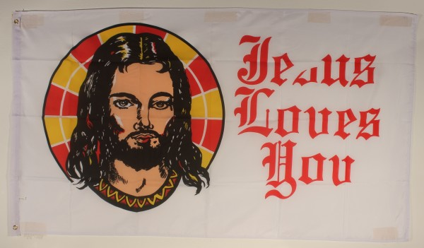 Flagge Fahne : Jesus loves you