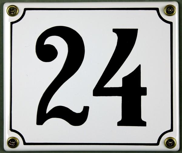 Hausnummernschild 24 weiß 12x14 cm sofort lieferbar Schild Emaille Hausnummer Haus Nummer Zahl Ziffe