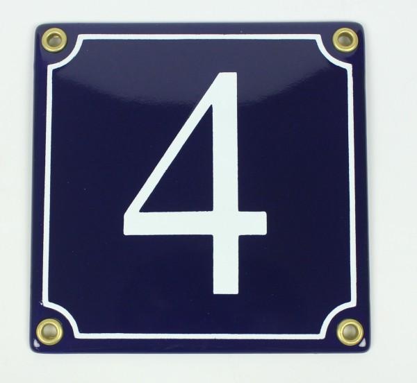 4 blau Serif 12x12 cm sofort lieferbar Schild Emaille Hausnummer