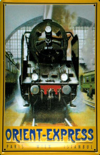 Blechschild Orient Express Eisenbahn Dampflokomotive Schild Nostalgieschild