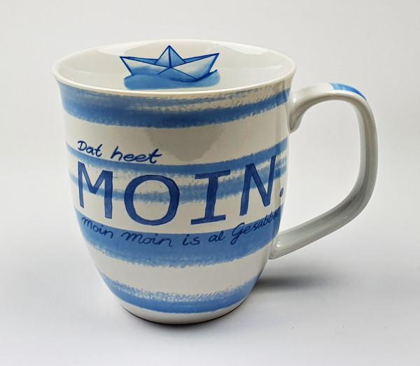 Maritimer Becher Dat heet Moin Gesabbel Anker gestreift Tasse Kaffee Becher Andenken weiß blau