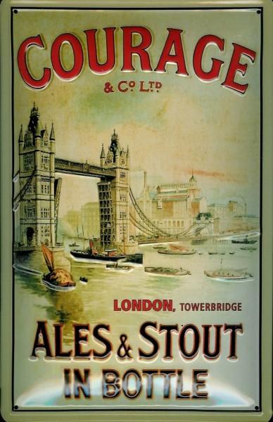 Blechschild Courage Tower Bridge London Ales & Stout retro Schild Werbeschild
