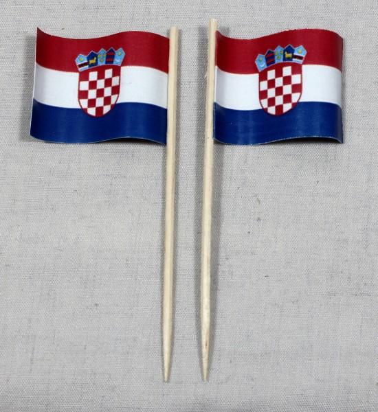 Party-Picker Flagge Kroatien Papierfähnchen in Spitzenqualität 50 Stück Beutel