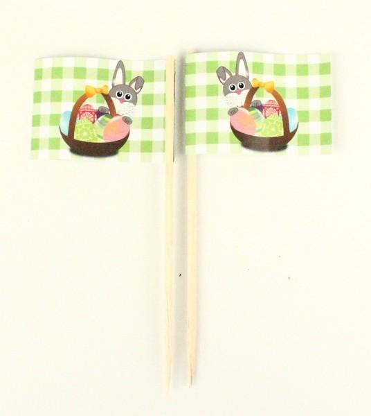 Party-Picker Flagge Osterhase grün Papierfähnchen in Spitzenqualität 50 Stück Beutel