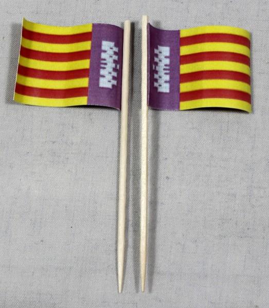 Party-Picker Flagge Mallorca Spanien Papierfähnchen in Spitzenqualität 50 Stück Beutel