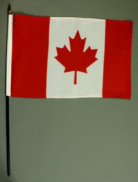 Tischflagge Kanada 20x30 cm optional mit Tischflaggenständer aus Mahagoni Holz