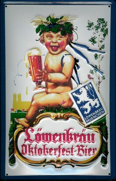 Blechschild Löwenbräu München Oktoberfest Bier Schild Nostalgieschild Biergarten