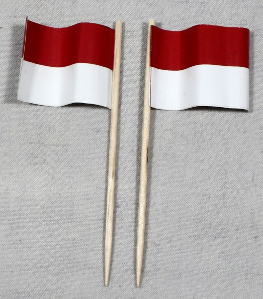 Party-Picker Flagge Indonesien Papierfähnchen in Spitzenqualität 50 Stück Beutel