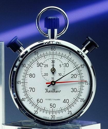 Mechanische analoge Anker 7 Steine Doppelstopper Stoppuhr Hanhart 1/5 sec. + 1/100 min, 30 min