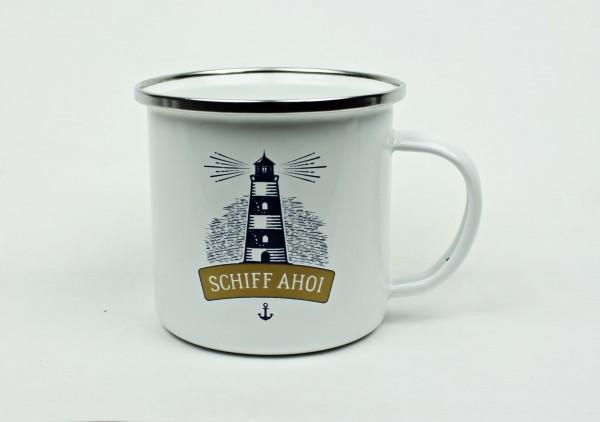 Maritimer Emaille Becher Schiff Ahoi Tasse Kaffee Becher Anker Emaillebecher Leuchtturm