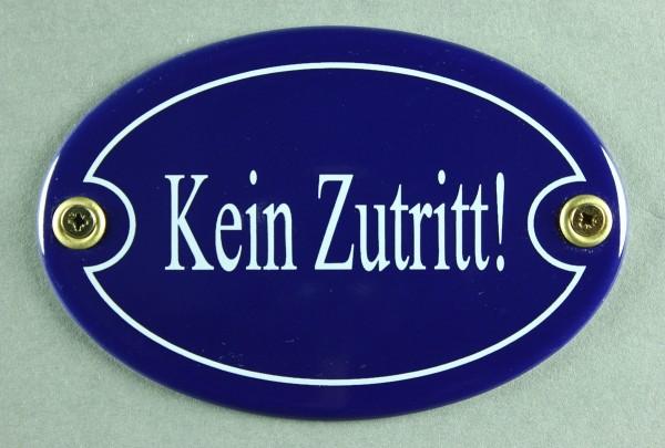 Emaille Türschild Kein Zutritt blau oval Schild Toilettenschild Emailleschild Metallschild Blechschi