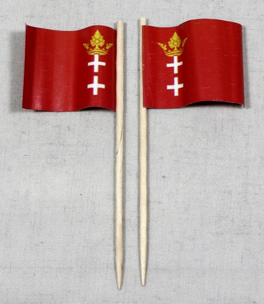Party-Picker Flagge Danzig historisch Papierfähnchen in Spitzenqualität 50 Stück Beutel