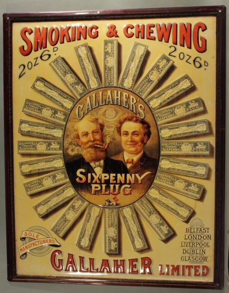 Blechschild Nostalgieschild Gallaher smoking & chewing Tabakwerbung Kautabak retro Schild