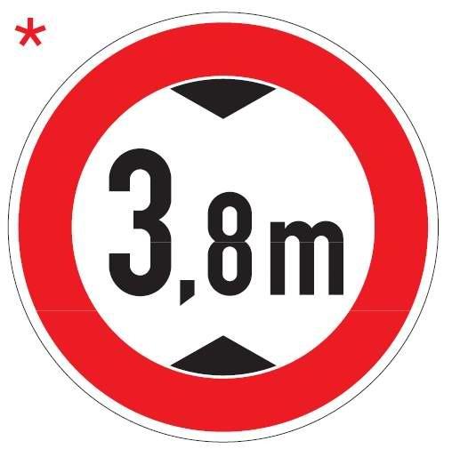 Verkehrsschild / Verkehrszeichen Verbot für Fahrzeuge über angegebenes tatsächliche Höhe 600 mm rund