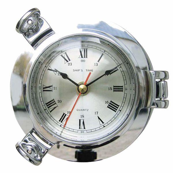 Schiffsuhr Quarz Bullaugen-Uhr verchromt 14cm