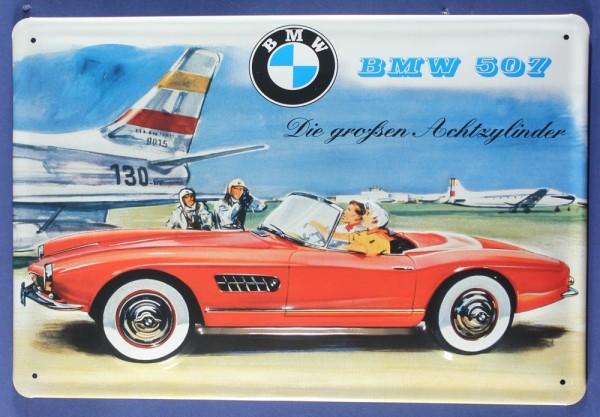 Blechschild BMW 507 Achtzylider Sportwagen Flugzeug Schild Werbeschild retro Nostalgieschild