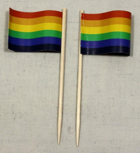 Party-Picker Flagge Regenbogen Papierfähnchen in Spitzenqualität 50 Stück Beutel