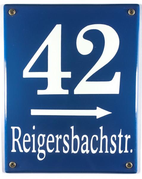 Münchner Hausnummernschild klein mit Wunschzahl / Text 25x20 cm Emaille Hausnummer