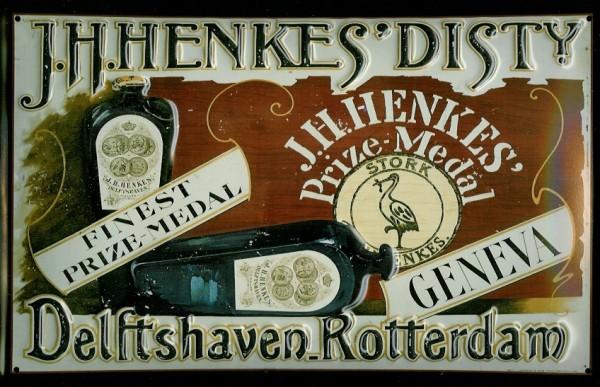 Blechschild Henkes Dist. Rotterdam Delftshaven Genever Geneva Holland Schild retro Werbeschild