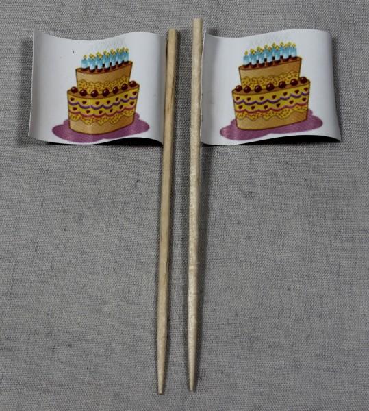 Party-Picker Flagge Happy Birthday Torte Geburtstagstorte Papierfähnchen in Spitzenqualität 50 Stück