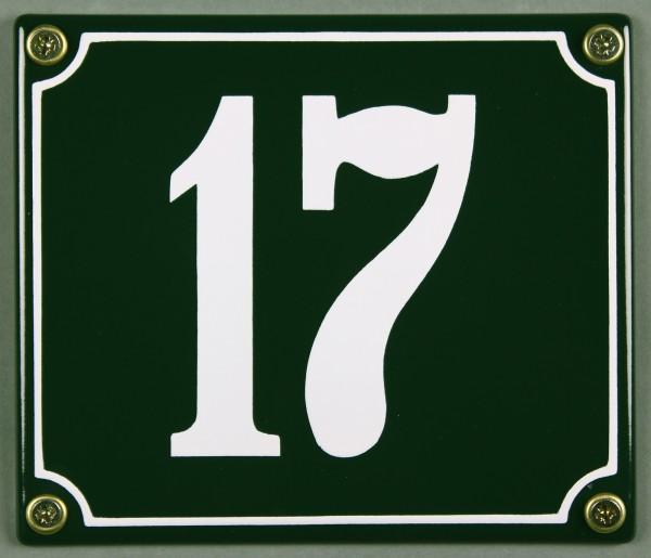 Hausnummernschild 17 grün 12x14 cm sofort lieferbar Schild Emaille Hausnummer Haus Nummer Zahl Ziffe