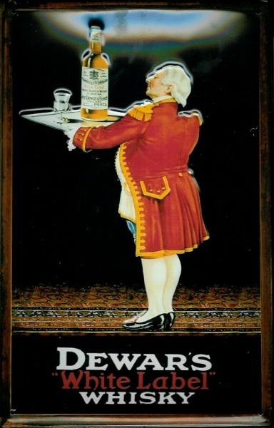 Blechschild Dewars White Label Whiskey Butler mit Tablett retro Schild Werbeschild